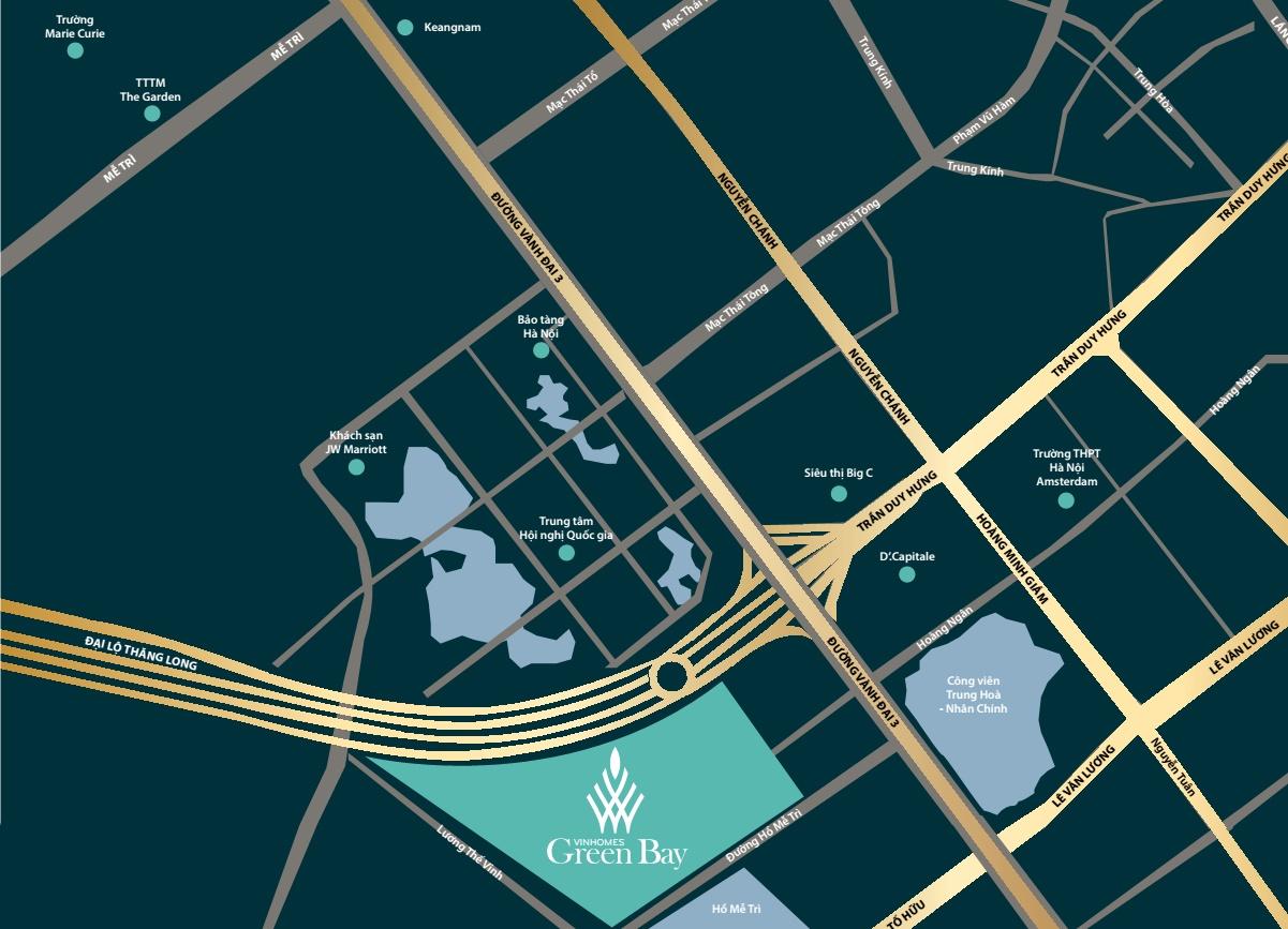 vị trí dự án Vinhomes-green bay mễ trì